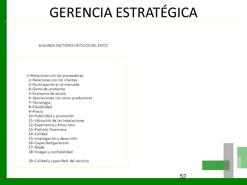 GERENCIA ESTRATÉGICA ALGUNOS FACTORES CRITICOS DEL EXITO