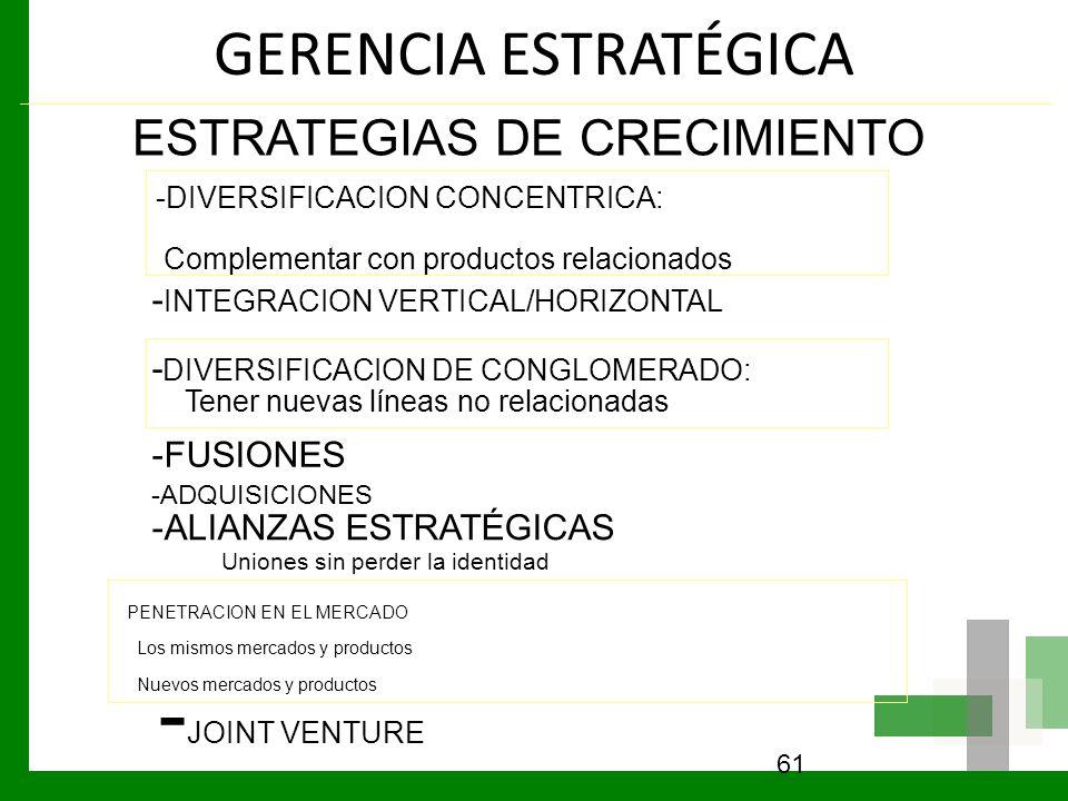 -JOINT VENTURE GERENCIA ESTRATÉGICA ESTRATEGIAS DE CRECIMIENTO