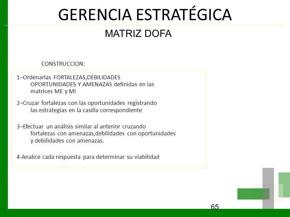 GERENCIA ESTRATÉGICA CONSTRUCCION: MATRIZ DOFA