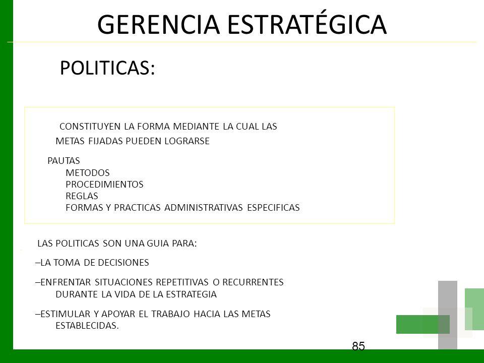 GERENCIA ESTRATÉGICA POLITICAS: