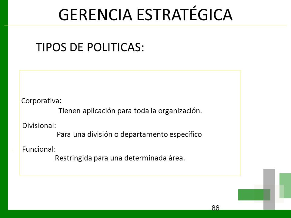 GERENCIA ESTRATÉGICA TIPOS DE POLITICAS: