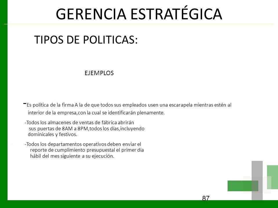GERENCIA ESTRATÉGICA TIPOS DE POLITICAS: EJEMPLOS