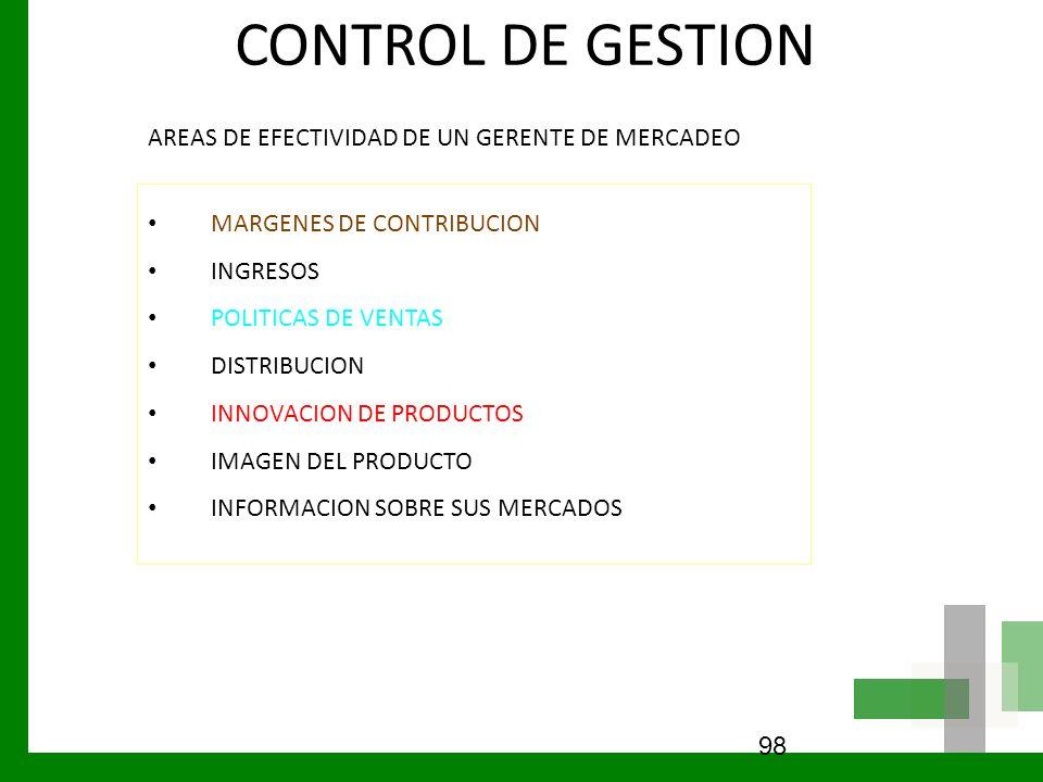 CONTROL DE GESTION AREAS DE EFECTIVIDAD DE UN GERENTE DE MERCADEO