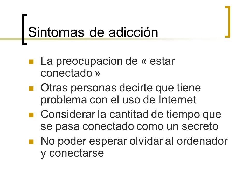 Sintomas de adicción La preocupacion de « estar conectado »