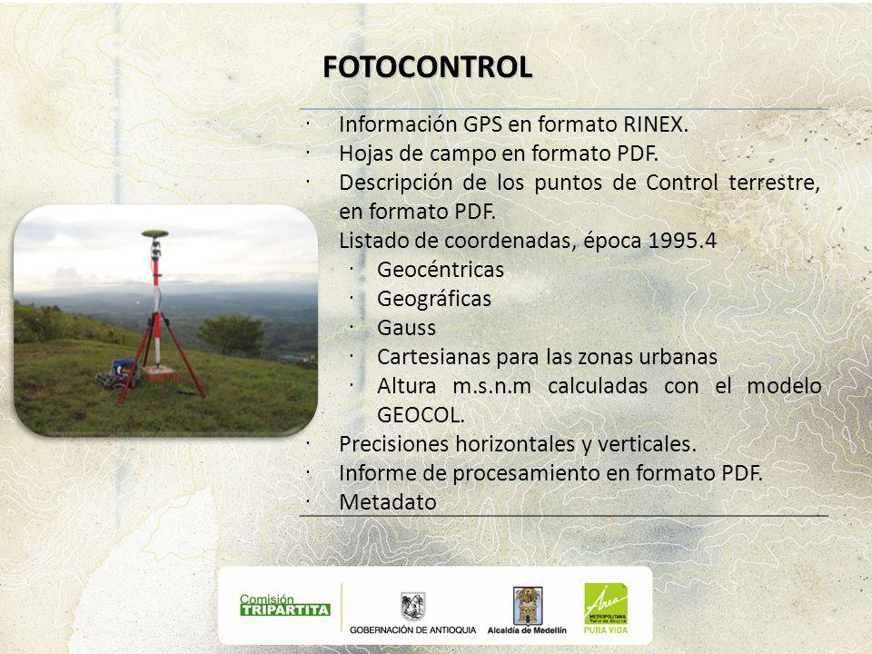 FOTOCONTROL Información GPS en formato RINEX.