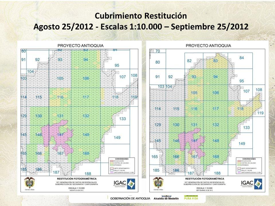 Cubrimiento Restitución Agosto 25/2012 - Escalas 1:10