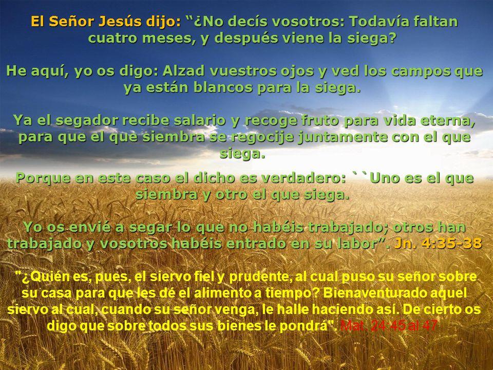 El Señor Jesús dijo: ¿No decís vosotros: Todavía faltan cuatro meses, y después viene la siega
