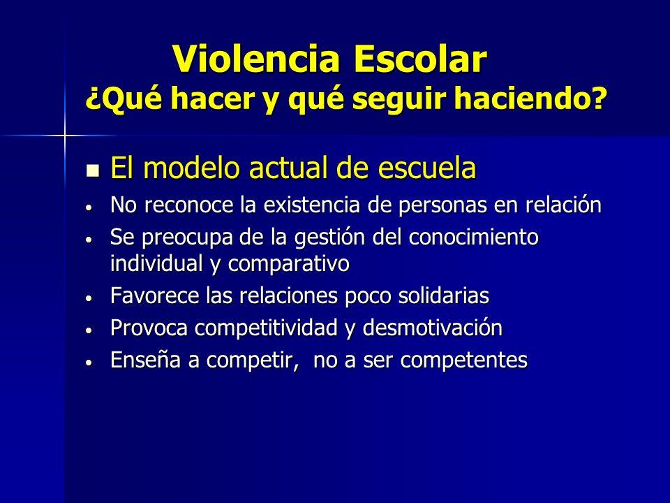 Violencia Escolar ¿Qué hacer y qué seguir haciendo