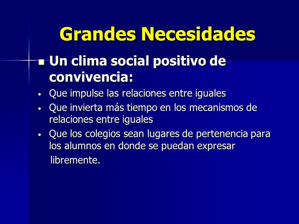 Grandes Necesidades Un clima social positivo de convivencia: