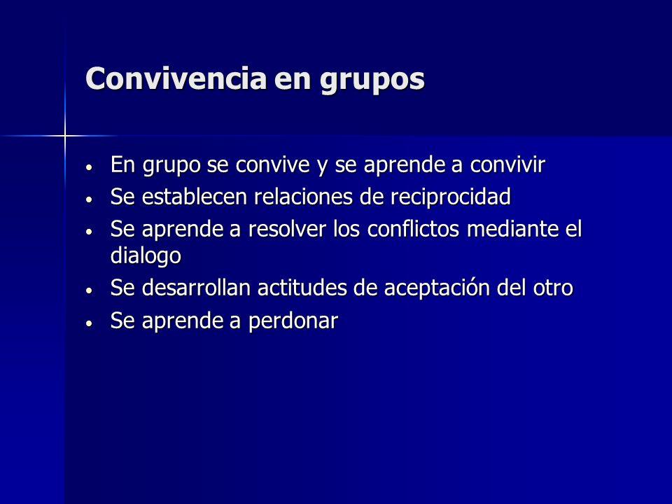 Convivencia en grupos En grupo se convive y se aprende a convivir