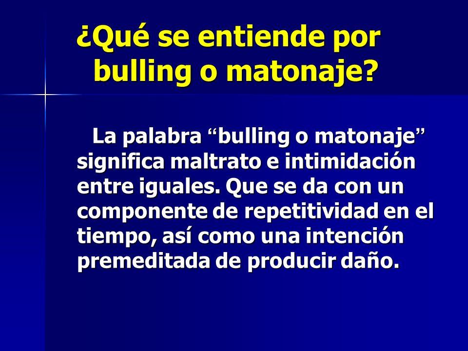¿Qué se entiende por bulling o matonaje