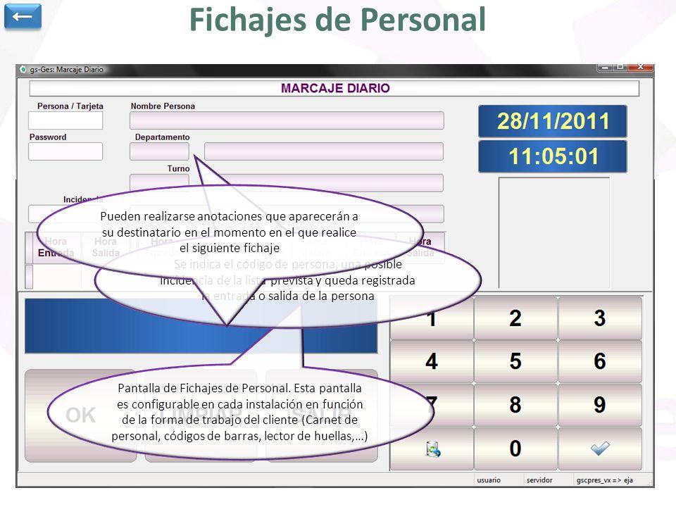 ← Fichajes de Personal. Pueden realizarse anotaciones que aparecerán a su destinatario en el momento en el que realice el siguiente fichaje.