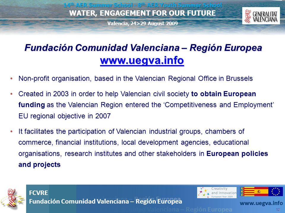 Fundación Comunidad Valenciana – Región Europea www.uegva.info