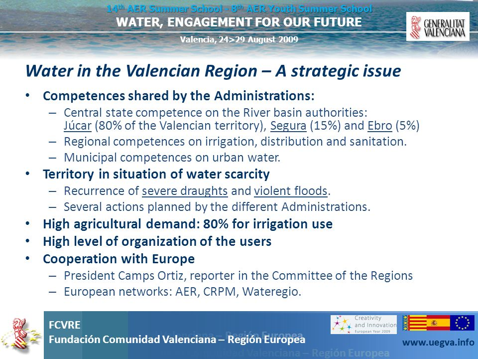 Water in the Valencian Region – A strategic issue