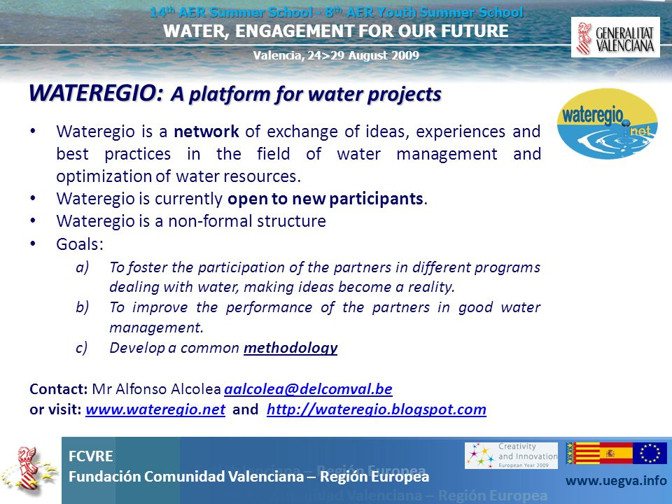 WATEREGIO: A platform for water projects