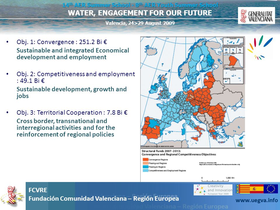 Obj. 1: Convergence : 251.2 Bi €Sustainable and integrated Economical development and employment. Obj. 2: Competitiveness and employment : 49.1 Bi €