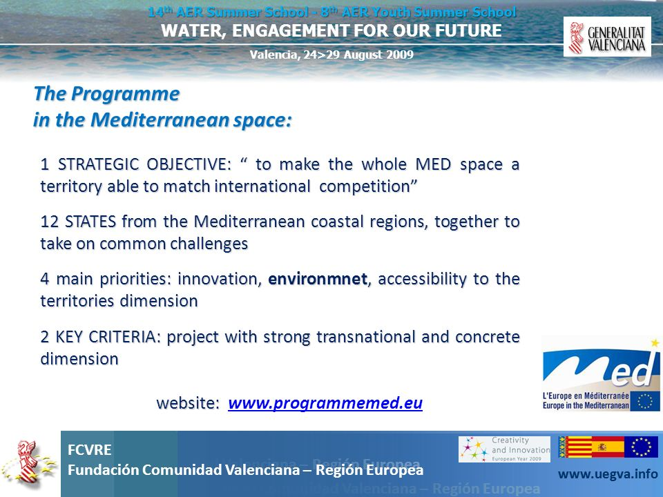 The Programme in the Mediterranean space:
