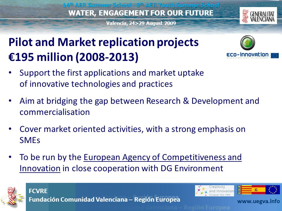 Pilot and Market replication projects €195 million (2008-2013)