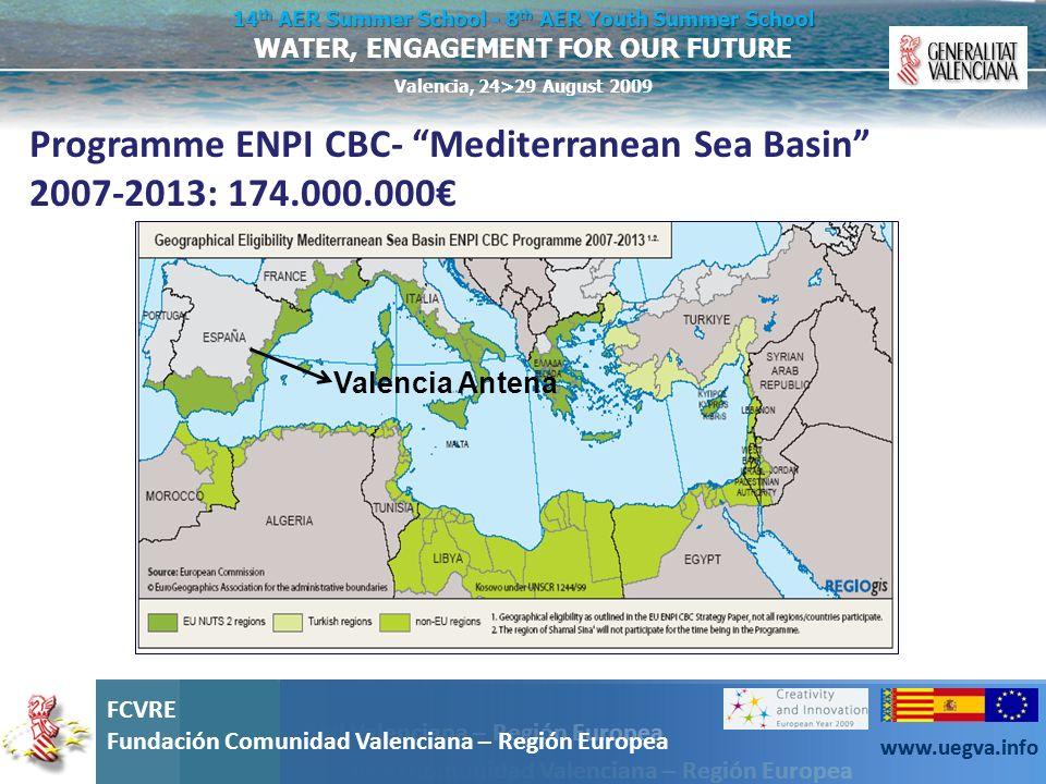 Programme ENPI CBC- Mediterranean Sea Basin 2007-2013: 174.000.000€