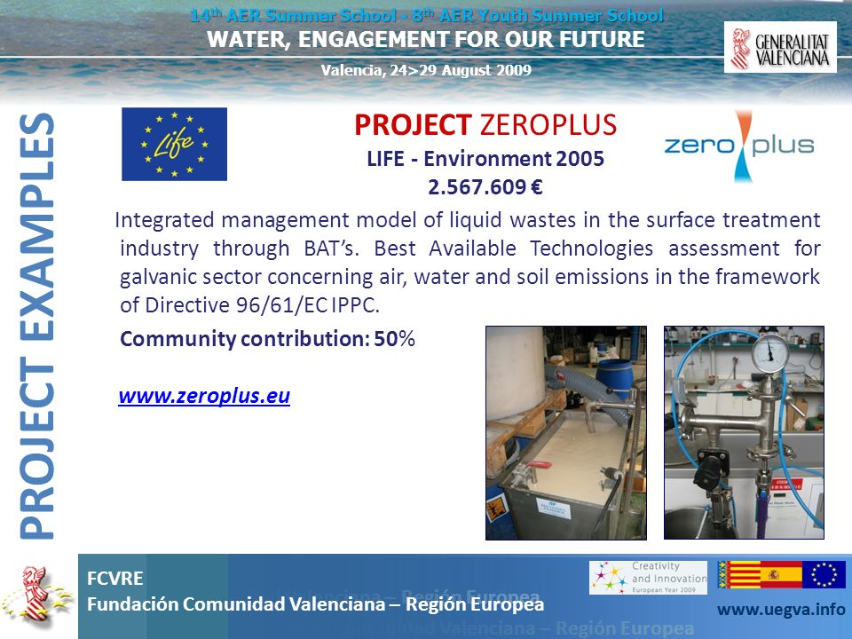 PROJECT EXAMPLES PROJECT ZEROPLUS LIFE - Environment €