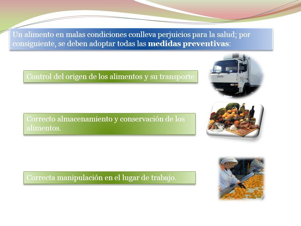Un alimento en malas condiciones conlleva perjuicios para la salud; por consiguiente, se deben adoptar todas las medidas preventivas: