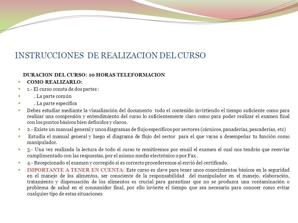 INSTRUCCIONES DE REALIZACION DEL CURSO