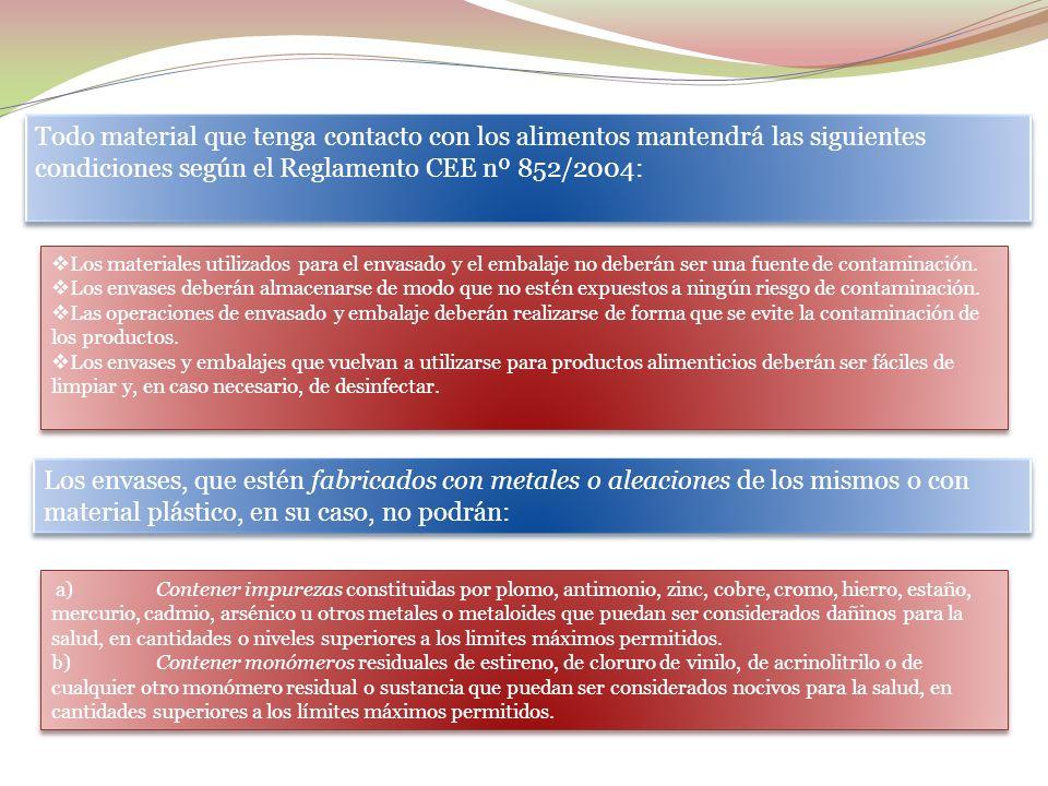 Todo material que tenga contacto con los alimentos mantendrá las siguientes condiciones según el Reglamento CEE nº 852/2004: