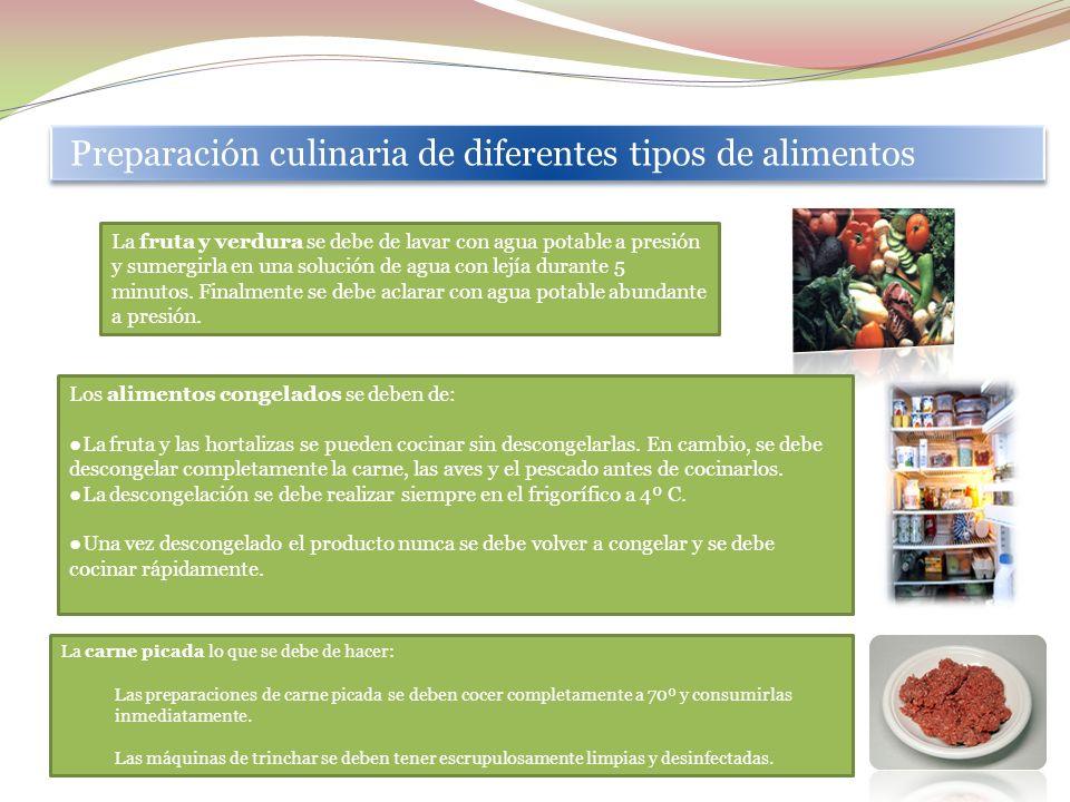 Preparación culinaria de diferentes tipos de alimentos