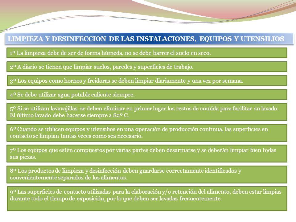 LIMPIEZA Y DESINFECCION DE LAS INSTALACIONES, EQUIPOS Y UTENSILIOS