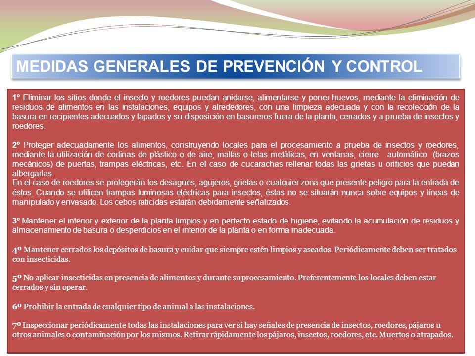 MEDIDAS GENERALES DE PREVENCIÓN Y CONTROL