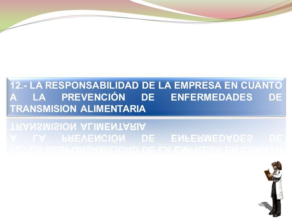 12.- LA RESPONSABILIDAD DE LA EMPRESA EN CUANTO A LA PREVENCIÓN DE ENFERMEDADES DE TRANSMISION ALIMENTARIA