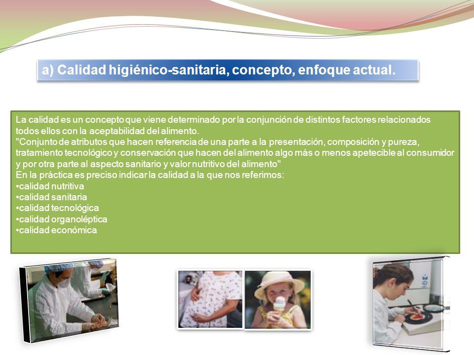 a) Calidad higiénico-sanitaria, concepto, enfoque actual.