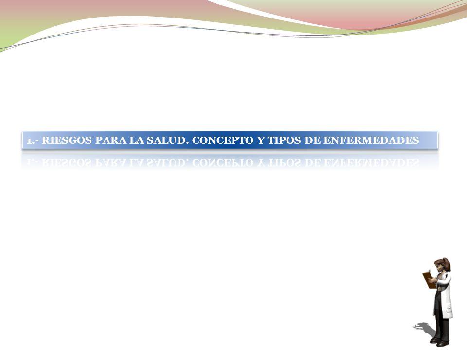 1.- RIESGOS PARA LA SALUD. CONCEPTO Y TIPOS DE ENFERMEDADES
