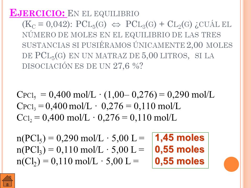 Ejercicio: En el equilibrio (Kc = 0,042): PCl5(g)  PCl3(g) + Cl2(g) ¿cuál el número de moles en el equilibrio de las tres sustancias si pusiéramos únicamente 2,00 moles de PCl5(g) en un matraz de 5,00litros, si la disociación es de un 27,6 %