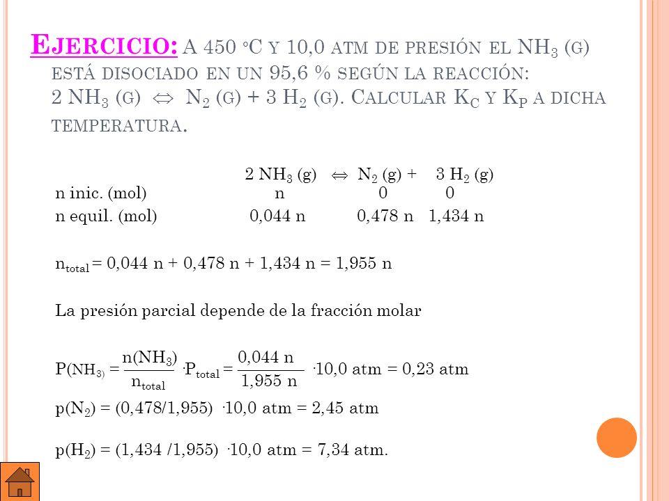 Ejercicio: A 450 ºC y 10,0 atm de presión el NH3 (g) está disociado en un 95,6 % según la reacción: 2 NH3 (g)  N2 (g) + 3 H2 (g). Calcular KC y KP a dicha temperatura.
