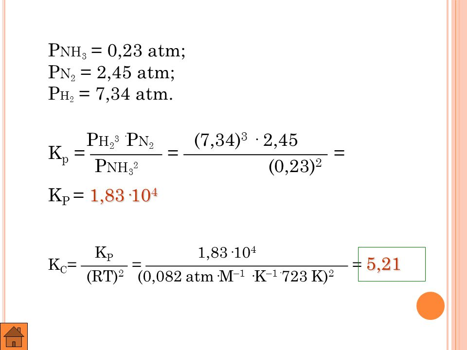PNH3 = 0,23 atm; PN2 = 2,45 atm; PH2 = 7,34 atm.