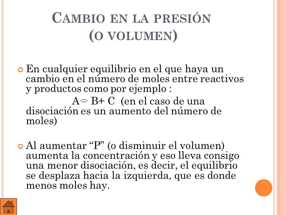 Cambio en la presión (o volumen)