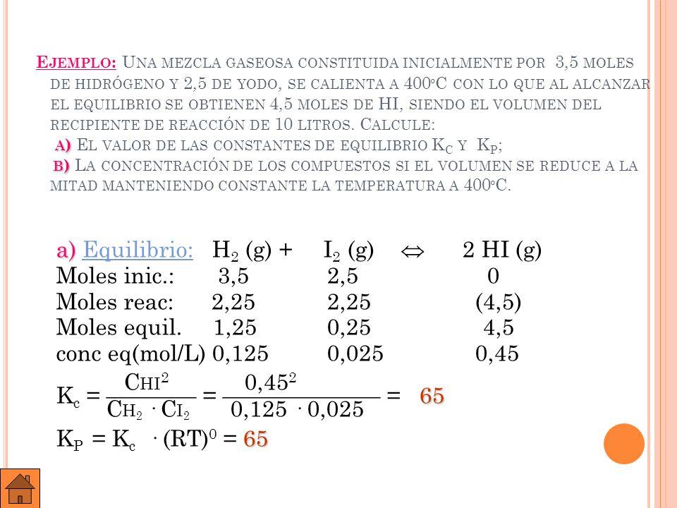 Ejemplo: Una mezcla gaseosa constituida inicialmente por 3,5 moles de hidrógeno y 2,5 de yodo, se calienta a 400ºC con lo que al alcanzar el equilibrio se obtienen 4,5 moles de HI, siendo el volumen del recipiente de reacción de 10 litros. Calcule: a) El valor de las constantes de equilibrio Kc y Kp; b) La concentración de los compuestos si el volumen se reduce a la mitad manteniendo constante la temperatura a 400ºC.