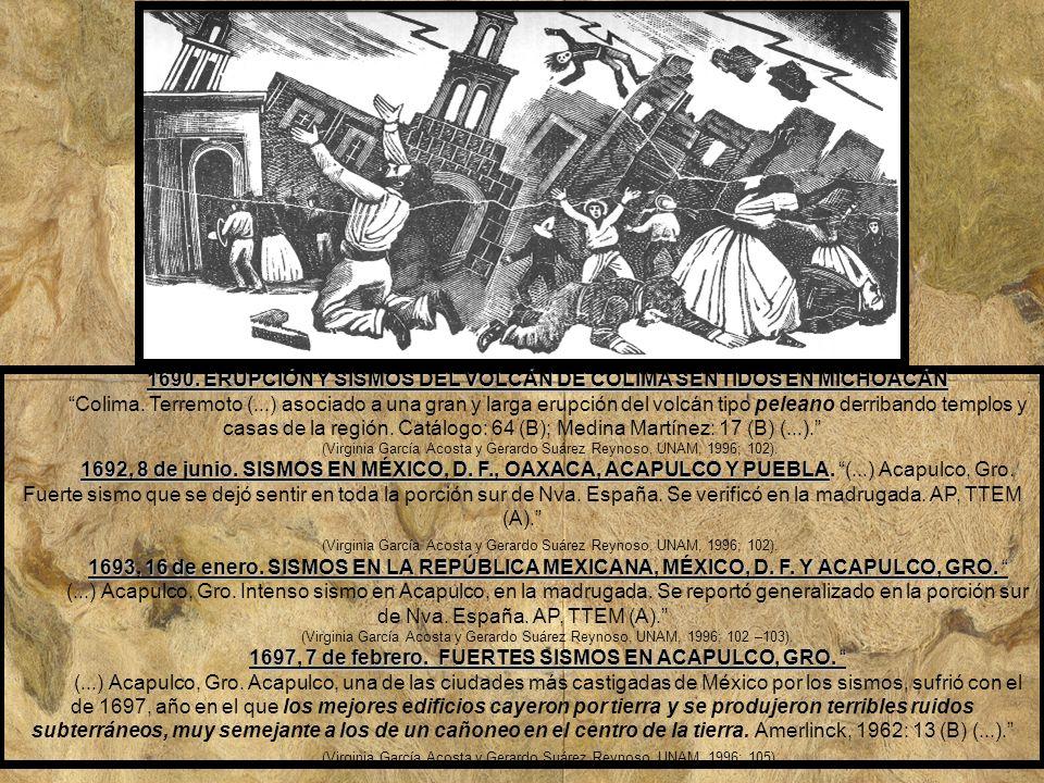 1690. ERUPCIÓN Y SISMOS DEL VOLCÁN DE COLIMA SENTIDOS EN MICHOACÁN