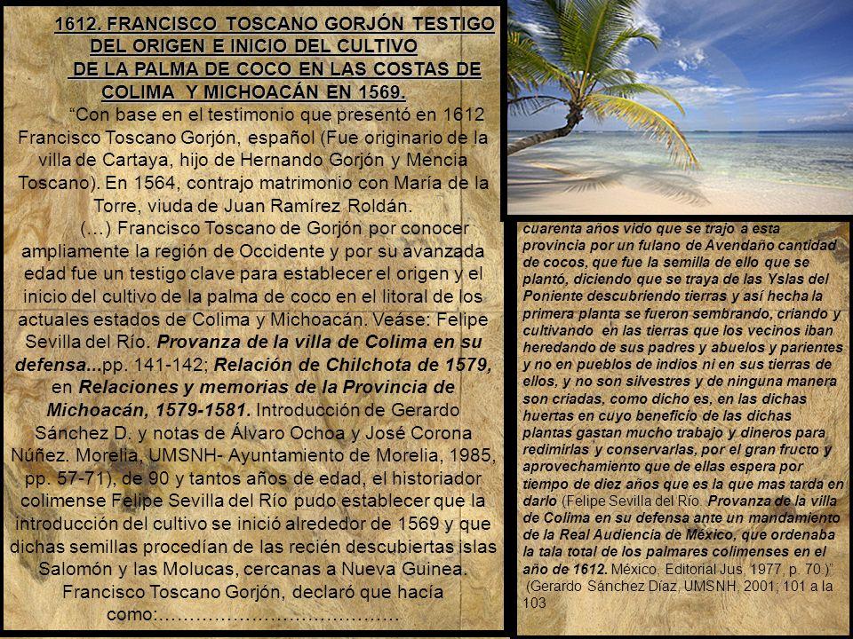 1612. FRANCISCO TOSCANO GORJÓN TESTIGO DEL ORIGEN E INICIO DEL CULTIVO