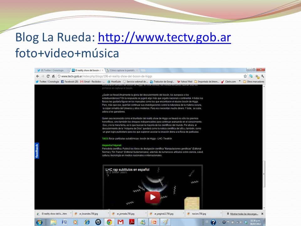 Blog La Rueda: http://www.tectv.gob.ar foto+video+música