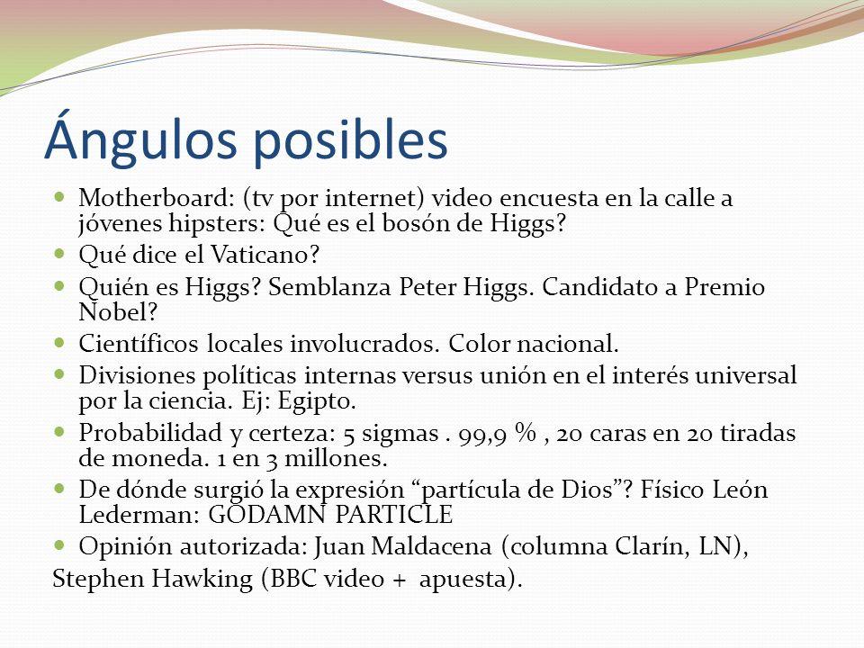 Ángulos posibles Motherboard: (tv por internet) video encuesta en la calle a jóvenes hipsters: Qué es el bosón de Higgs