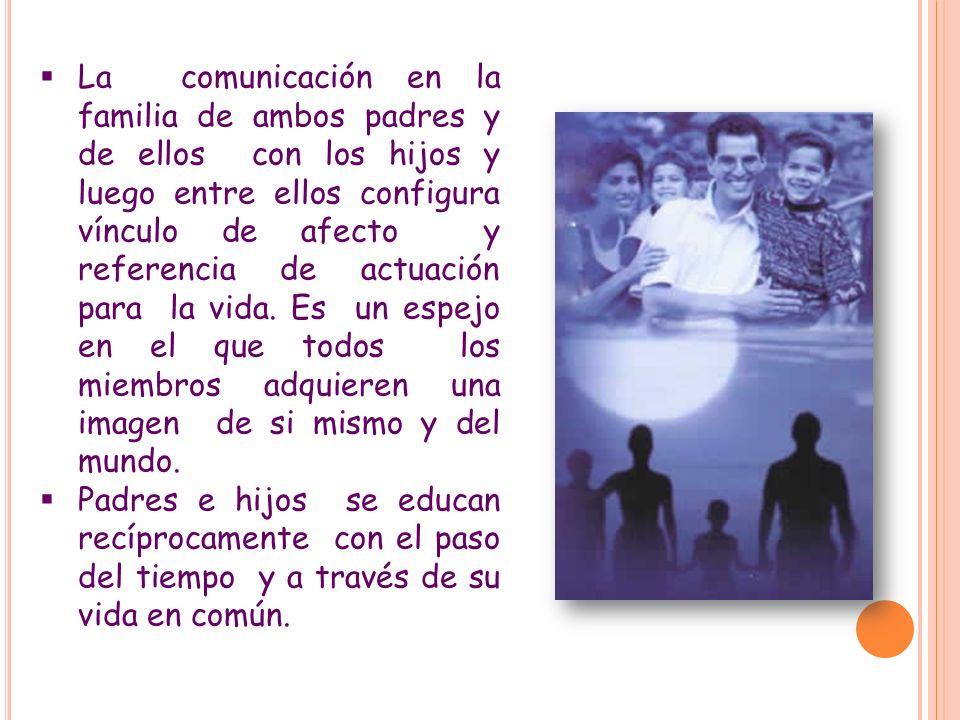 La comunicación en la familia de ambos padres y de ellos con los hijos y luego entre ellos configura vínculo de afecto y referencia de actuación para la vida. Es un espejo en el que todos los miembros adquieren una imagen de si mismo y del mundo.