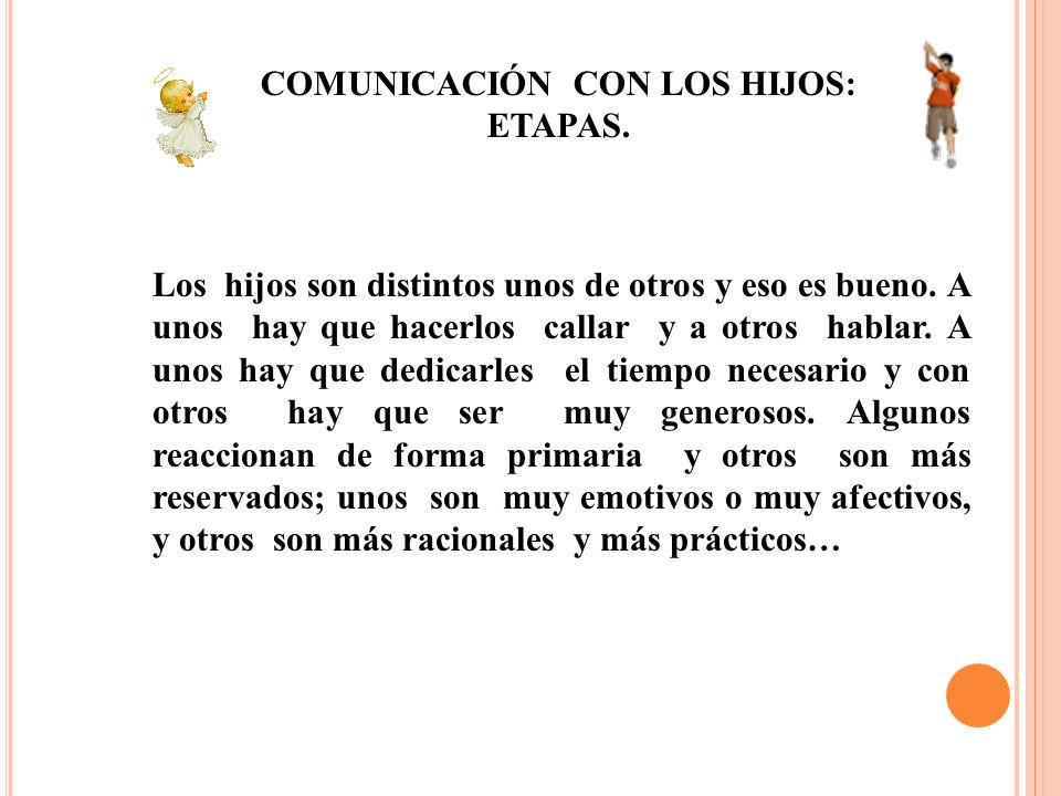 COMUNICACIÓN CON LOS HIJOS: ETAPAS.
