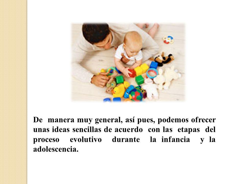 De manera muy general, así pues, podemos ofrecer unas ideas sencillas de acuerdo con las etapas del proceso evolutivo durante la infancia y la adolescencia.