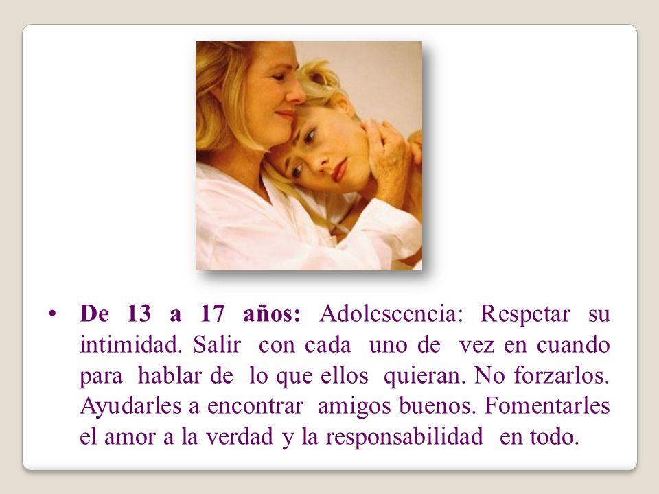 De 13 a 17 años: Adolescencia: Respetar su intimidad