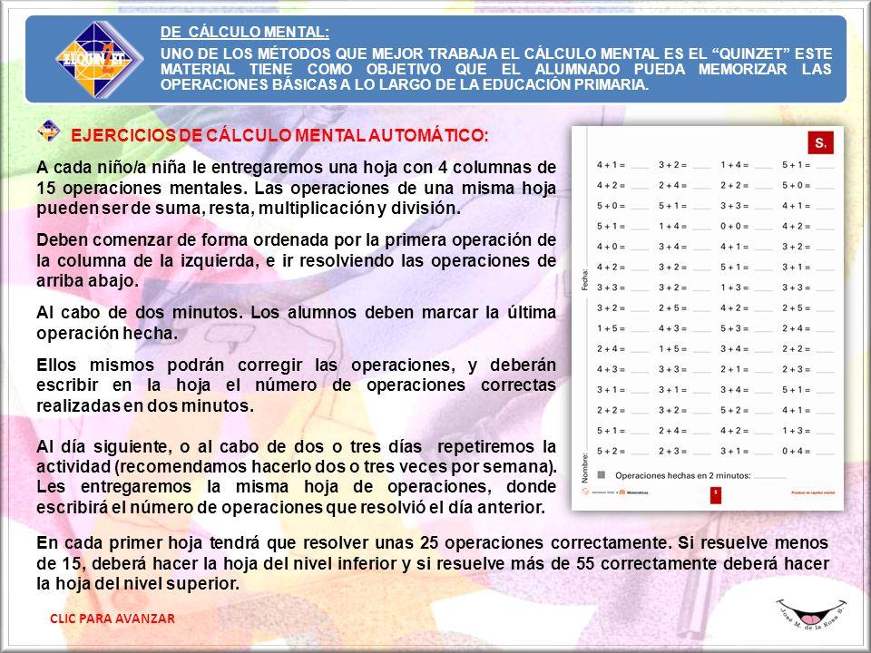 EJERCICIOS DE CÁLCULO MENTAL AUTOMÁTICO: