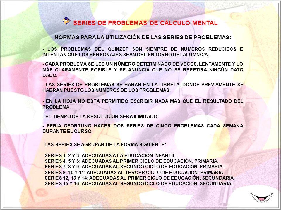 NORMAS PARA LA UTILIZACIÓN DE LAS SERIES DE PROBLEMAS: