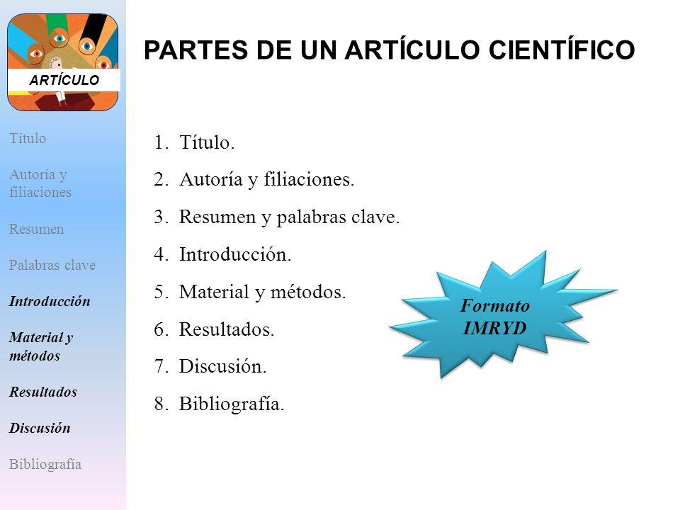 PARTES DE UN ARTÍCULO CIENTÍFICO