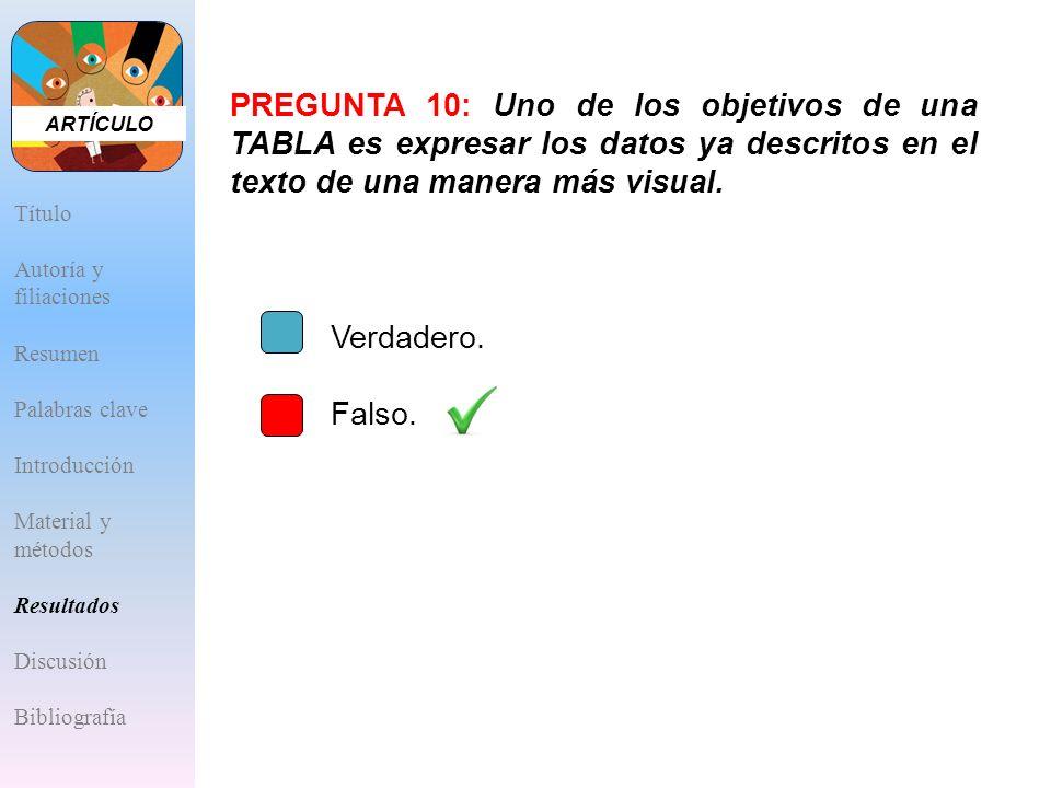 ARTÍCULO PREGUNTA 10: Uno de los objetivos de una TABLA es expresar los datos ya descritos en el texto de una manera más visual.